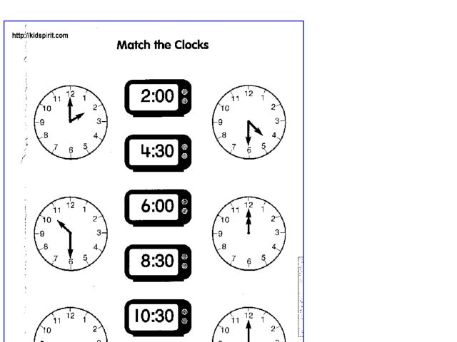 Match the Clocks 2nd - 3rd Grade Worksheet | Lesson Planet