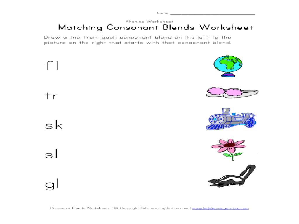 Worksheet Consonant Blends With Short Vowels matching consonant blends worksheet 1st 2nd grade lesson planet