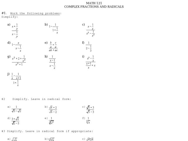 Printables Complex Fractions Worksheet math 121 complex fractions and radicals 9th 11th grade worksheet lesson planet