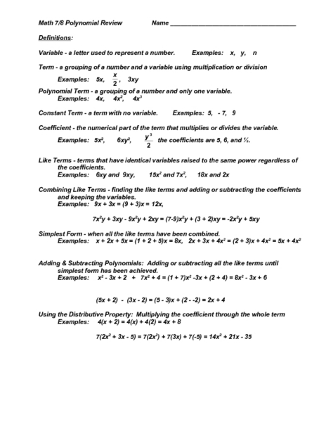 8th Grade » Polynomial Worksheets 8th Grade  Printable Worksheets Guide for Children and Parents
