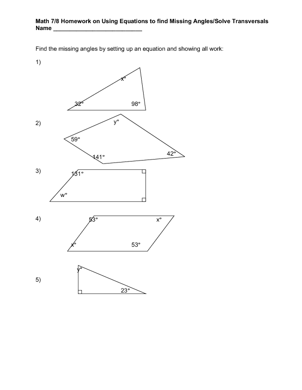 Finding missing angles worksheet 7th grade