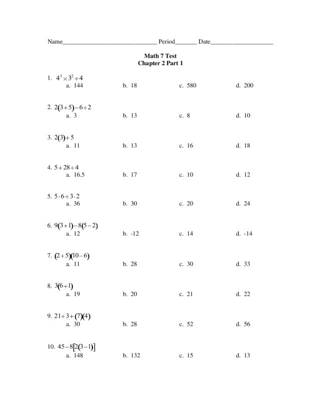 math worksheet : math 7 test chapter 2 part 1  pemdas 7th  8th grade worksheet  : Grade 2 Math Test Worksheets