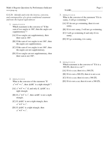Worksheet Conditional Statements Worksheet math a regents questions by performance indicator conditional statements 8th grade worksheet lesson planet