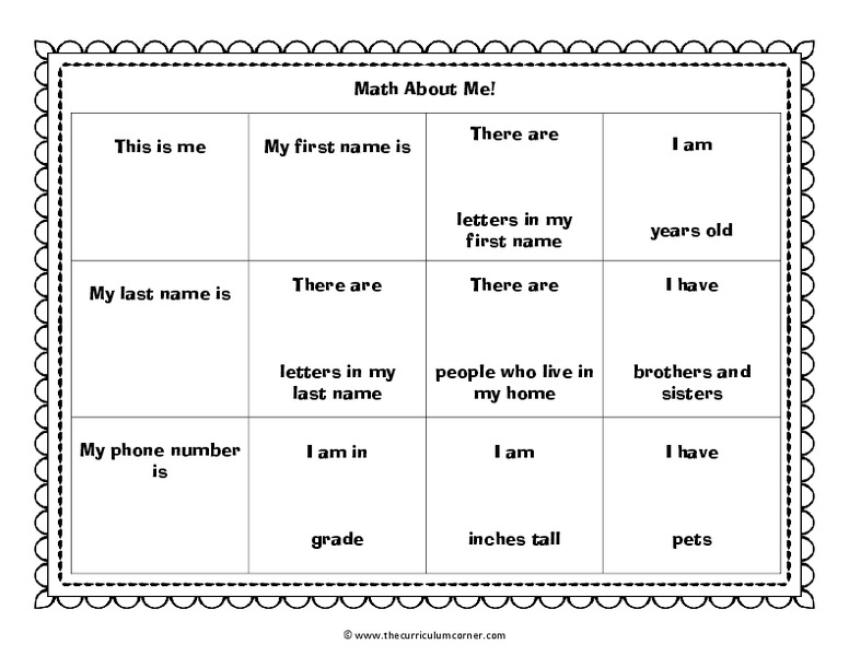 Math About Me Kindergarten 6th Grade Worksheet – About Me Worksheet