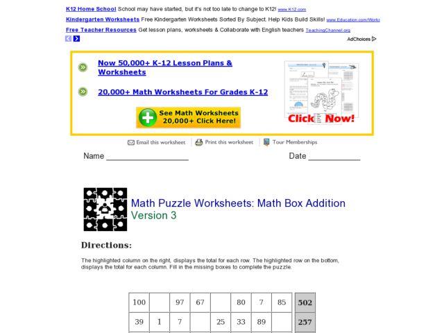 Pre School Worksheets Addition Box Worksheets Free Printable – K12 Worksheets Math