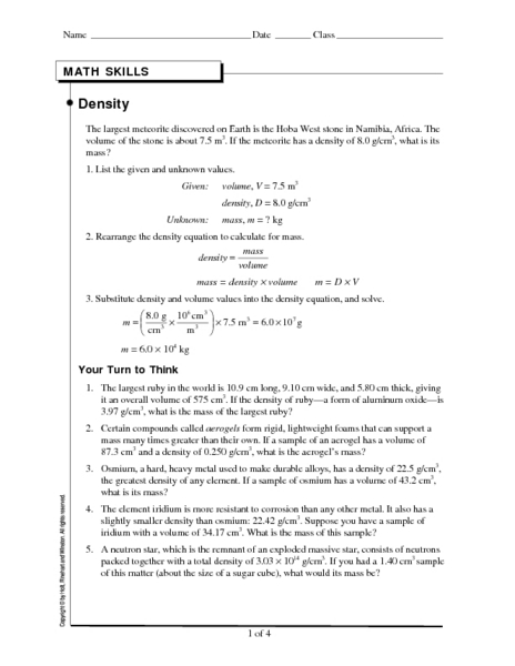 Worksheet Density Worksheet Physical Science math skills density 8th 10th grade worksheet lesson planet