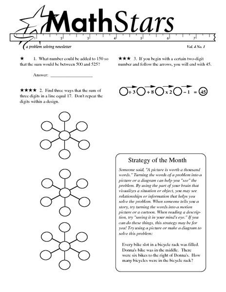 math worksheet : math stars a problem solving newsletter grade 4 4th grade  : Math Challenge Worksheets
