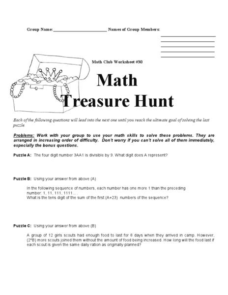 Worksheets Treasure Hunt Math Worksheet math treasure hunt 4th 8th grade worksheet lesson planet