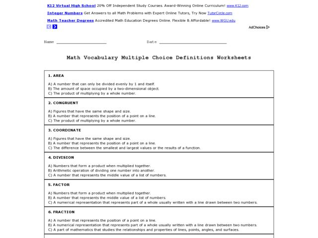Math Vocabulary DefinitionsMultiple Choice 4th 6th Grade – Math Vocabulary Worksheet