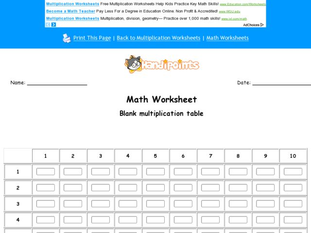 Number Names Worksheets : multiplication table to fill in ...
