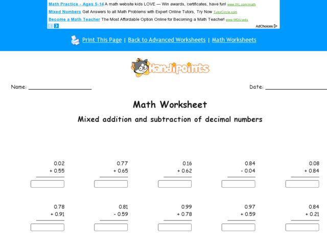 math worksheet : math worksheets for addition and subtraction of decimals  : Addition And Subtraction Of Decimals Worksheet