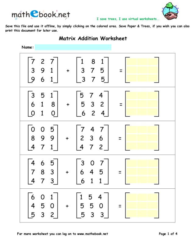 Printables Matrix Worksheets adding matrices worksheet davezan and subtracting worksheets davezan