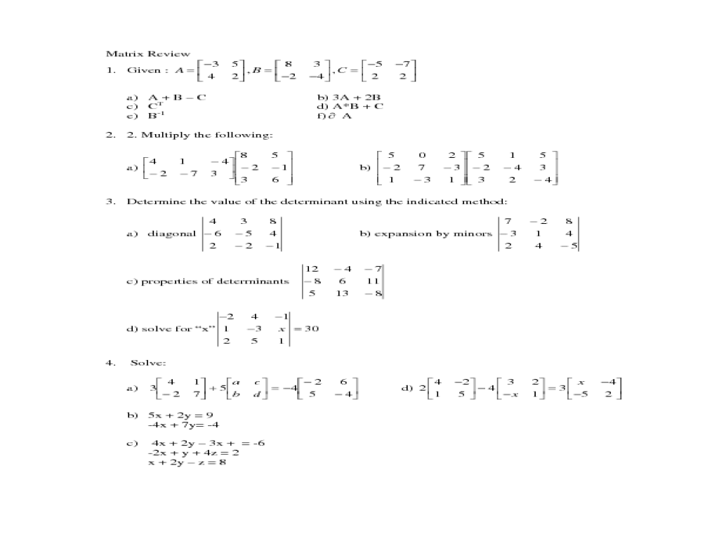 Printables Matrix Worksheets matrices worksheets davezan matrix davezan