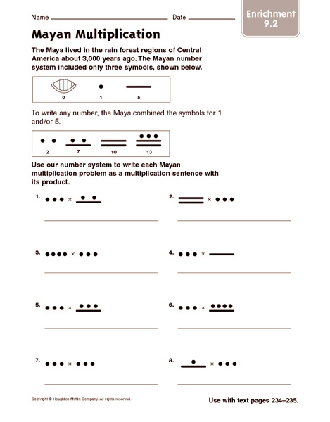 math worksheet : mayan multiplication enrichment 4th  5th grade worksheet  : Mayan Math Worksheet