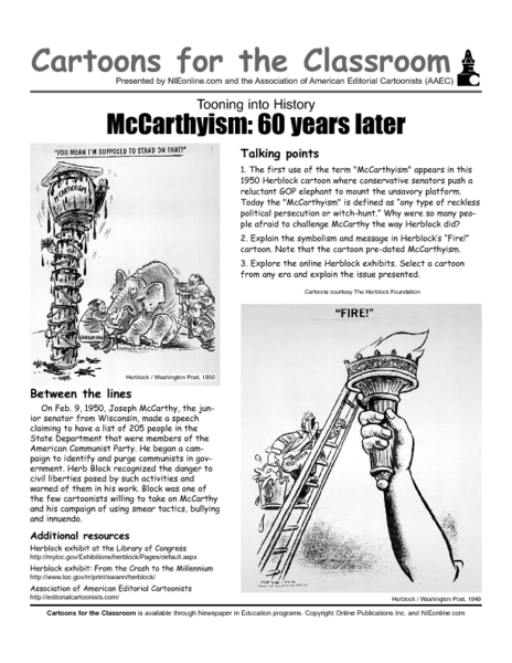 McCarthyism: 60 Years Later 9th - 12th Grade Worksheet | Lesson Planet