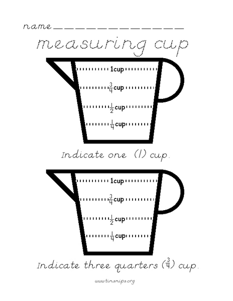 Measuring Cup 1st - 2nd Grade Worksheet | Lesson Planet