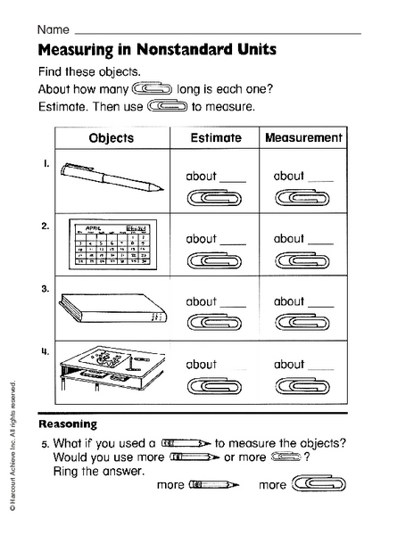 Measuring In Nonstandard Units 1st 3rd Grade Worksheet Lesson Pla