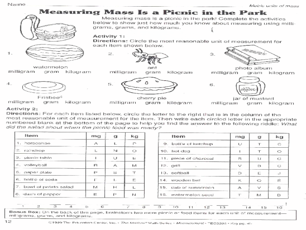 Printables Measuring Mass Worksheet measuring mass is a picnic in the park 6th 8th grade worksheet lesson planet