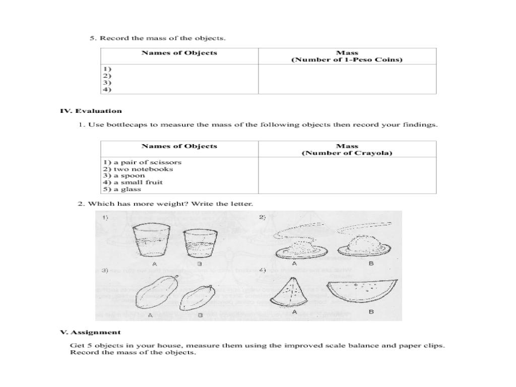 Mass measurement worksheets grade 2