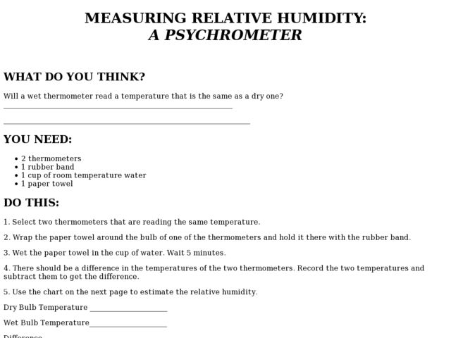 Relative Humidity Worksheet - Synhoff
