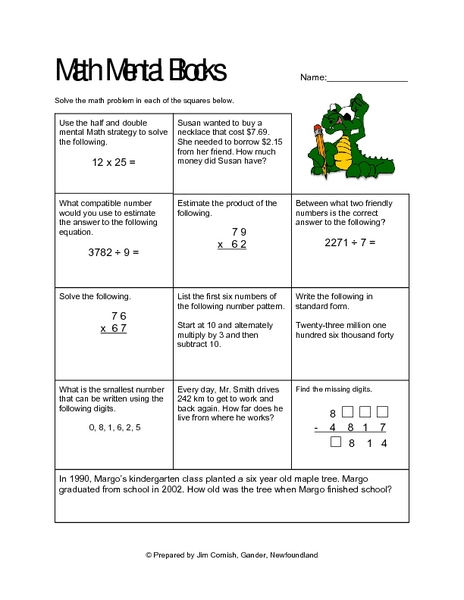 Mental Math and Compatible Numbers Collection : Lesson Planet