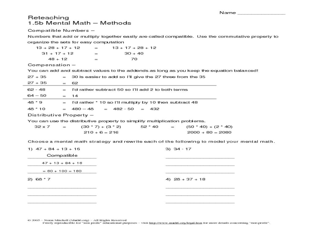 math worksheet : distributive property mental math worksheet  educational math  : Properties Of Math Worksheet