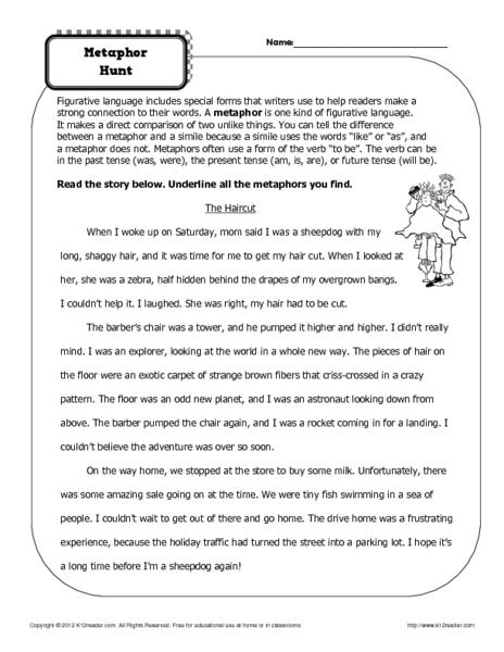 Metaphor Hunt 4th - 5th Grade Worksheet | Lesson Planet