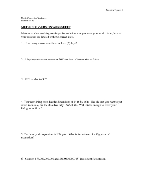 Printables Unit Conversion Worksheet Chemistry metric conversion worksheet 10th 11th grade lesson plan planet