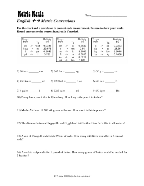 metric mania worksheet - laveyla.com