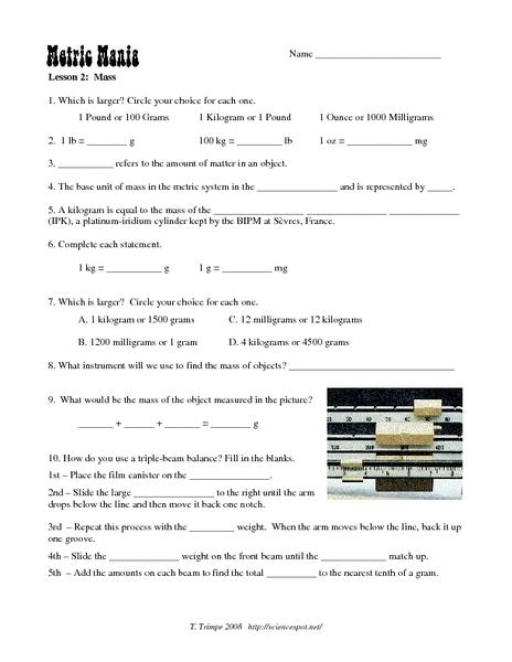 Metric Mania Worksheet 030 - Metric Mania Worksheet
