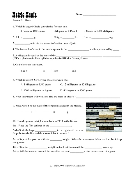 worksheets metric mania worksheet opossumsoft worksheets and printables. Black Bedroom Furniture Sets. Home Design Ideas