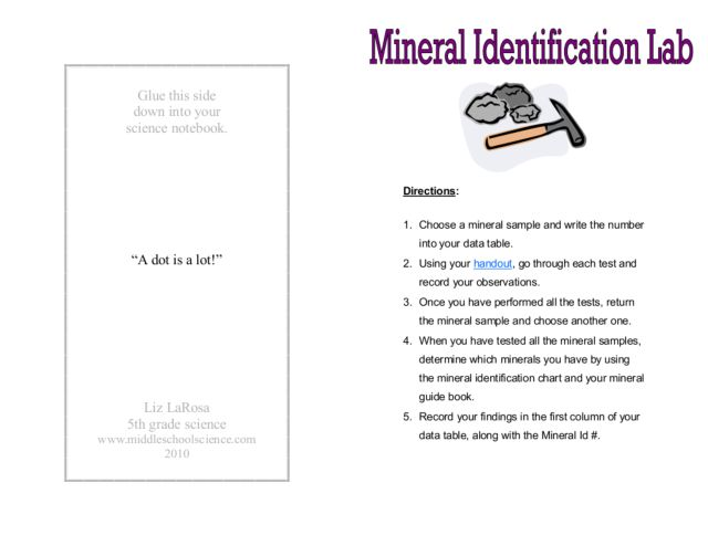 Mineral Identification Lab 6th - 8th Grade Worksheet | Lesson Planet
