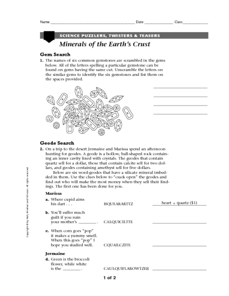 Printables 8th grade earth science worksheets for Soil 6th grade lessons