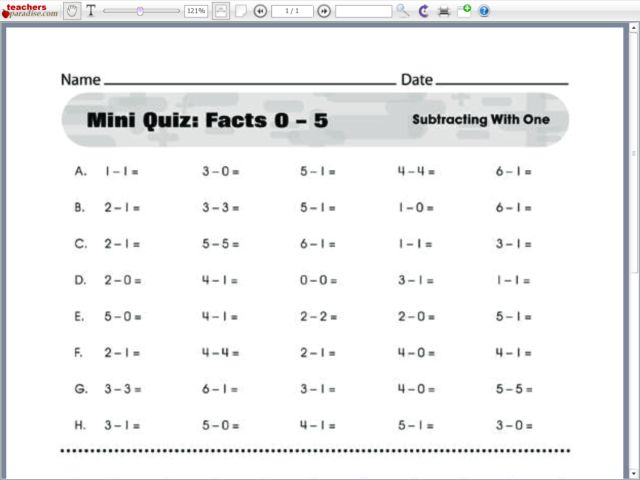 math worksheet : mini quiz facts 0 5 subtracting with one kindergarten  1st  : Subtraction Timed Worksheets