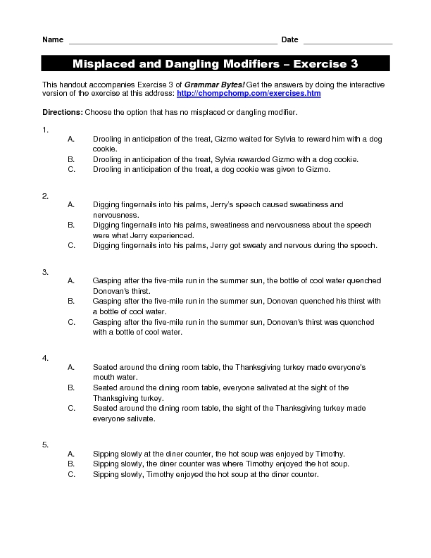 Misplaced And Dangling Modifiers Worksheet Karibunicollies – Misplaced and Dangling Modifiers Worksheet
