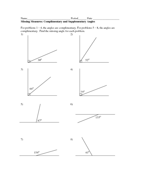 Printables Complementary And Supplementary Angles Worksheet missing measures complimentary and supplementary angles 4th 6th grade worksheet lesson planet