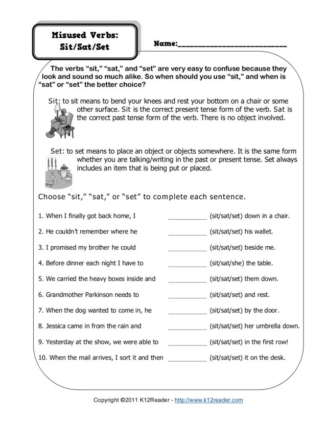Printables Sat Worksheets sat english grammar worksheets intrepidpath mis verbs sit set 3rd 4th grade worksheet lesson pla