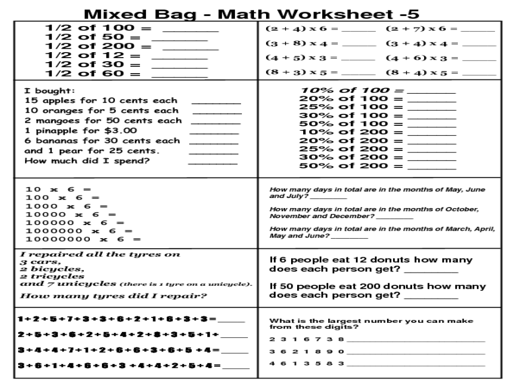 mixed math worksheets Termolak – 5th Grade Math Review Worksheets