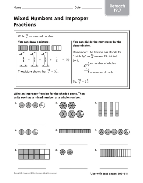math worksheet : mixed numbers and improper fractions  reteach 5th  6th grade  : Improper And Mixed Fractions Worksheets