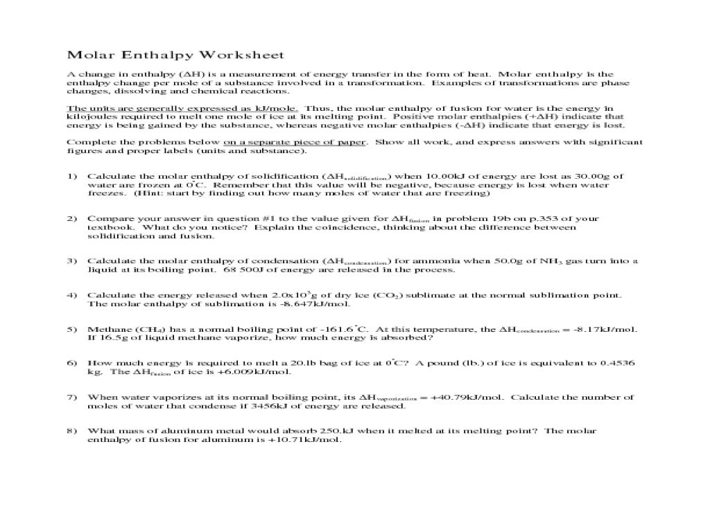 Enthalpy Worksheet Sharebrowse – Enthalpy Worksheet