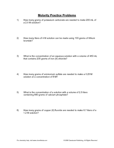 Molarity Practice Problems 11th - Higher Ed Worksheet | Lesson Planet