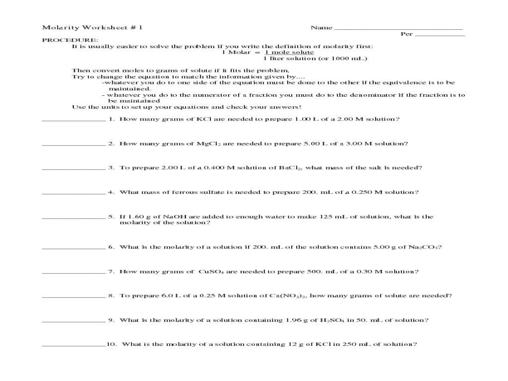 Solutions Worksheet Molarity - molarity of solutions worksheet and ...