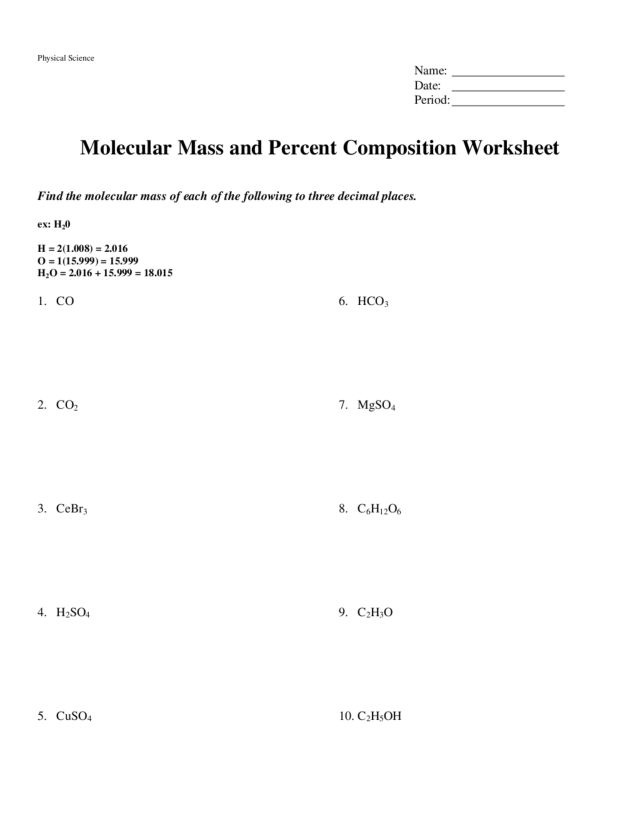 Molecular Mass and Percent Composition Worksheet 9th - 12th Grade ...