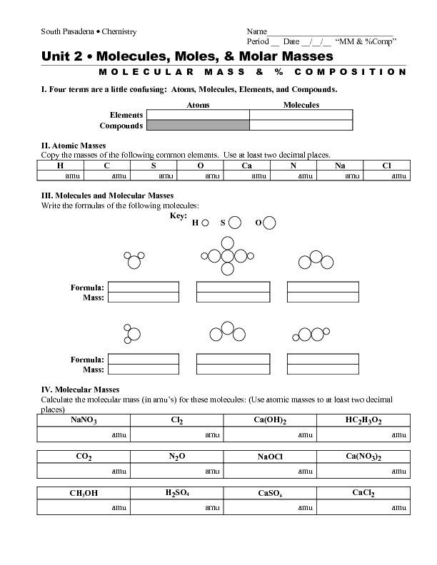 Percent Composition Chemistry Worksheet Free Worksheets Library ...