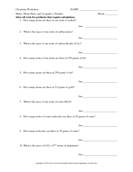 Printables Molar Mass Worksheet moles molar mass and avogadros number 10th 12th grade worksheet lesson planet
