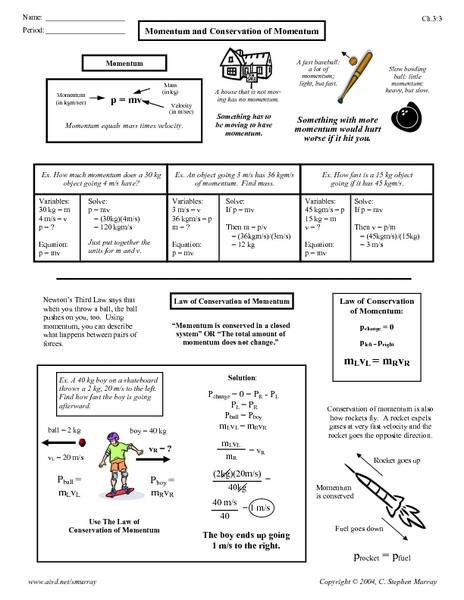 Printables Momentum Worksheet momentum and conservation of 9th 12th grade worksheet lesson planet