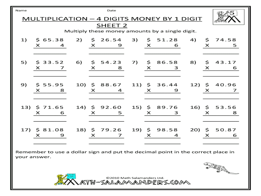 4 Digit By 1 Digit Multiplication Worksheets Free Worksheets ...
