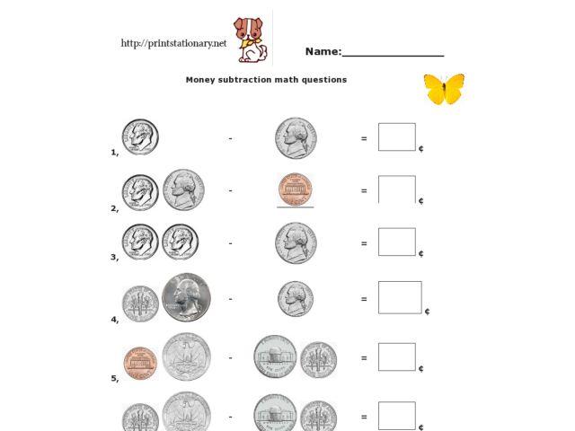 Money Subtraction Math Questions 2nd Grade Worksheet – Money Subtraction Worksheets