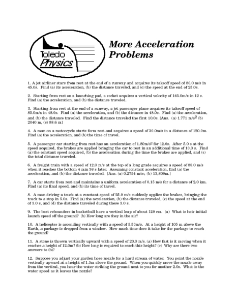 More Acceleration Problems 9th - Higher Ed Worksheet | Lesson Planet