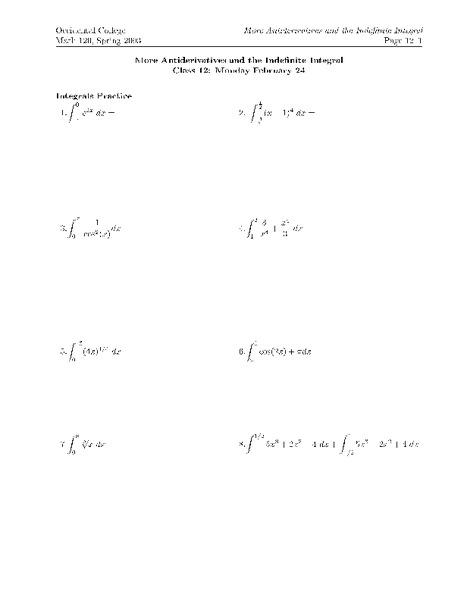 Indefinite Integral Worksheet With Solutions - Worksheets